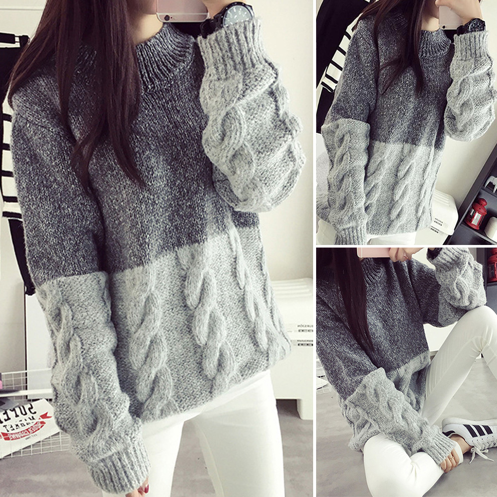 winter sweater Women Vintage Jumper Crew Neck Long Sleeve Pullover Casual Knit Sweater O ...
