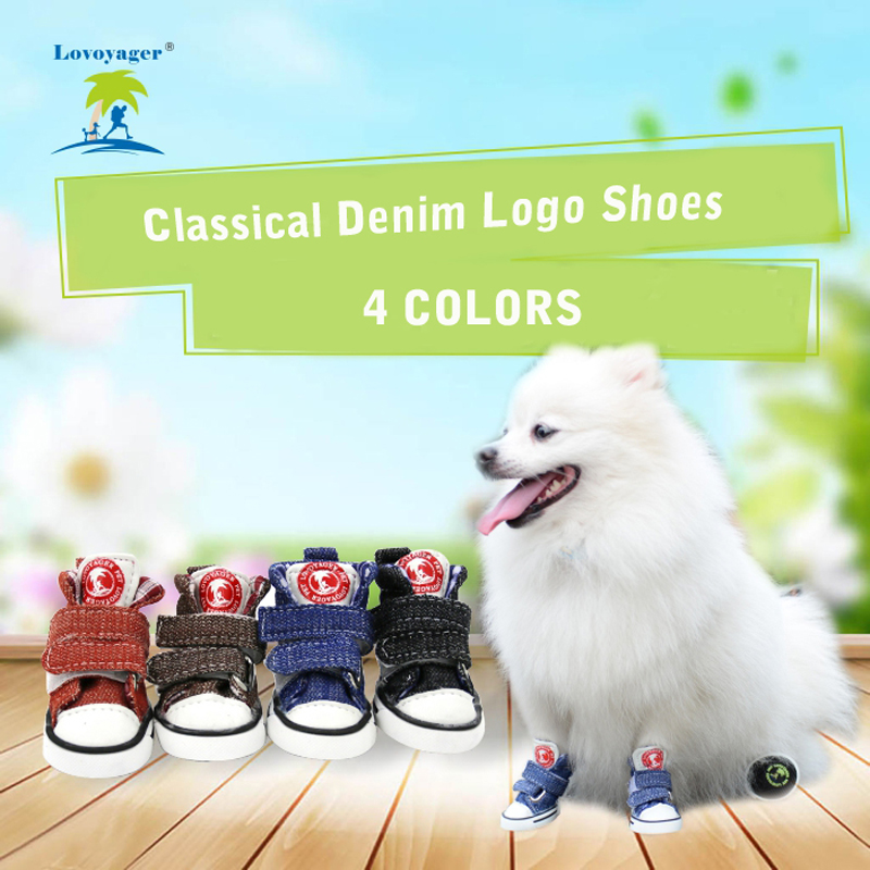 Lovoyager Ingen start Dog Sko Hund Støvler Glidende Denim Logo Dog Canvas Sneakers Sko Til Hund Puppy Cat