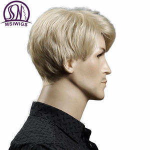 Image 3 - MSIWIGS Short Blonde Male Synthetic Wigs American European 6 Inch Straight Men Wig with Free Hair Cap Heat Resistant Toupee Hair