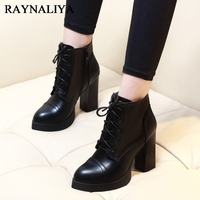 Autumn Spring Women Short Boots Korean Sheepskin Leather Square Heel Round Toe Thick Bottom Ankle Boots Shoes Female CH A0003
