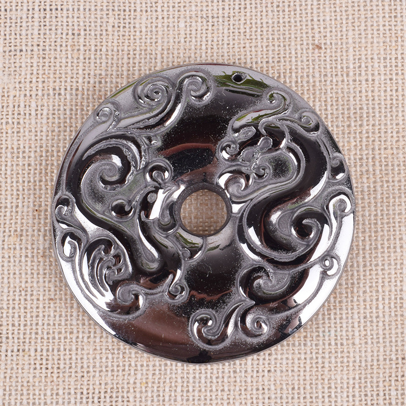 JoursNeige Natural Terahertz Stone Pendants Carved Dragon Phoenix Round Pendant Necklace For Women Men Amulet Necklace Jewelry