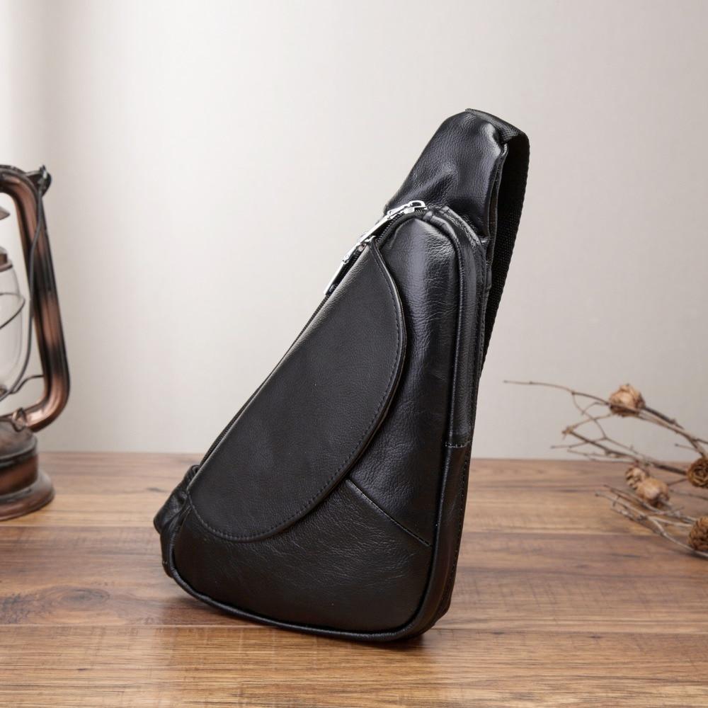 Genuine Leather Men Casual Fashion Travel Triangle Chest Sling Bag Black Design 7