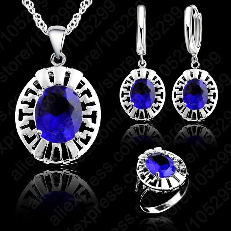 0e43608696c2 JEXXI alta calidad azul CZ cristal collar y aretes y anillo 3 Unidades Real  925 colgante de plata joyas Set regalo al por mayor