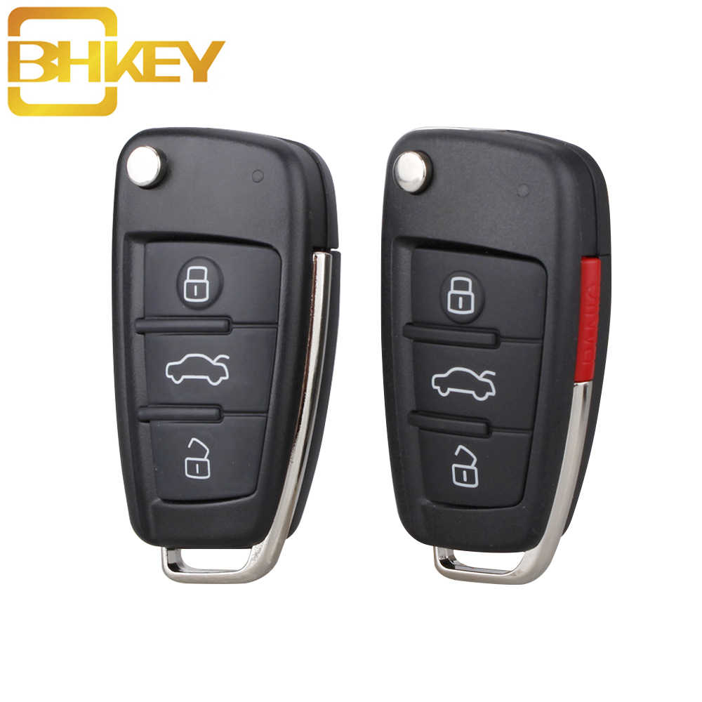 BHKEY 3 Buttons Flip Car Key Remote Folding Key Cover Shell Fob Case Key For Audi A2 A3 A4 A6 A6L A8 S5 Q7 TT Car key shell