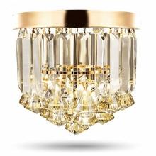 Хрустальные потолочные светильники цвета шампанского или прозрачные Круглые Хрустальные потолочные светильники из нержавеющей стали для лобби отеля, бара, кафе, магазина