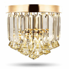 Crystal ceiling Lights Champagne OR Clear Stainless Steel Round Crystal ceiling Lights Design for the Hotel Lobby bar cafe shop
