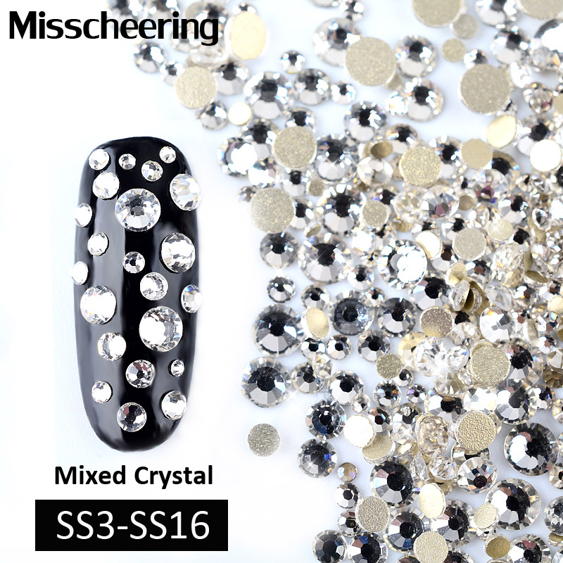 1Pack Crystal Clear Mixed(SS3-SS16)Nail Rhinestones 3d Shiny FlatBack Nails Gems Glitter Jewelry Decorations Charm Nail Art Tool graceful round 3d acrylic nail art gems crystal rhinestones diy nails decorations wheel silver 2017 o11