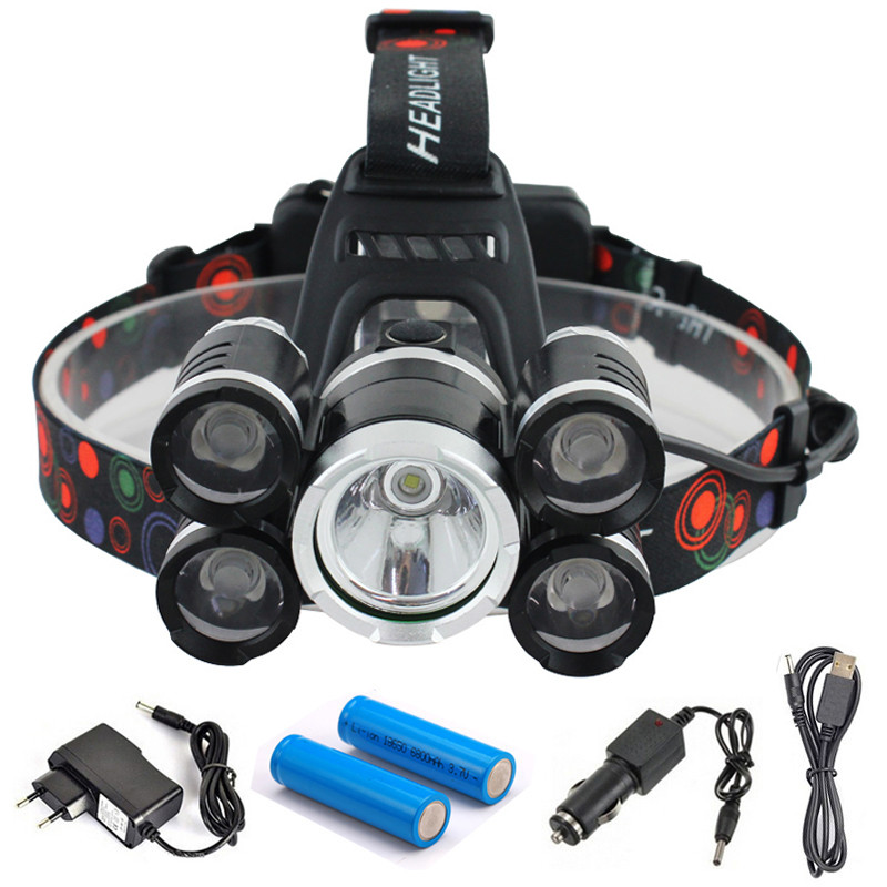 CREE 5 LED XML T6 Headlight 15000Lumens Headlamp Rechargeab Head Lamp Fishing Light Outdoor Lighting Battery