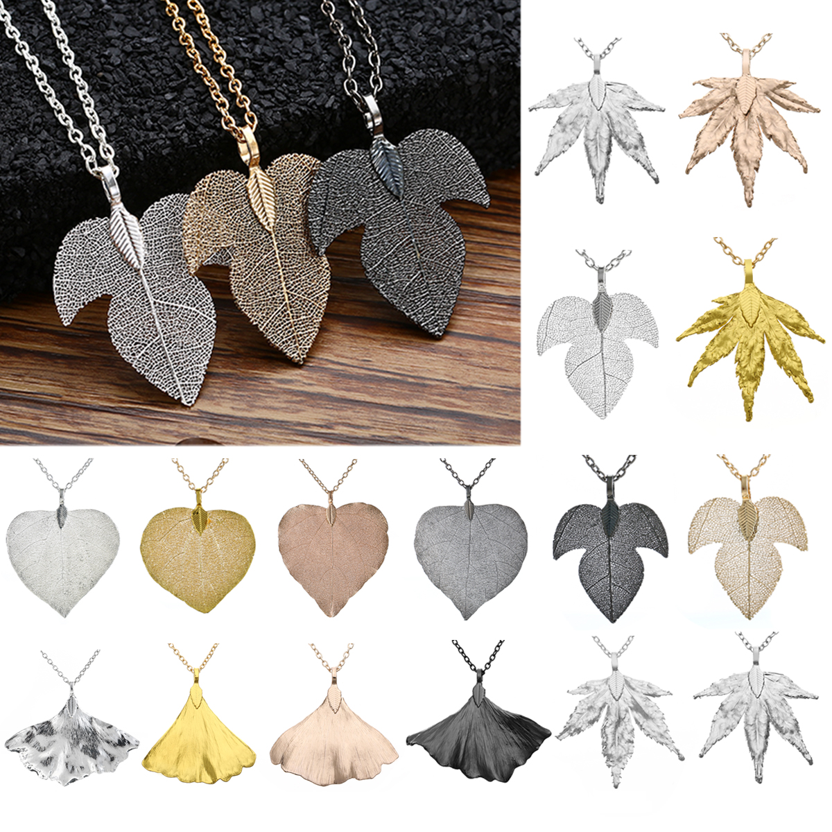 Shellhard Boho Natural Leaf Pendant Necklaces Vintage Ginkgo Maple Leaf Long Sweater Chain Necklace For Bohemian Women Jewelry