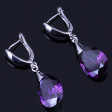 Excellent Water Drop Purple Cubic Zirconia 925 Sterling Silver Dangle Earrings For Women V0346