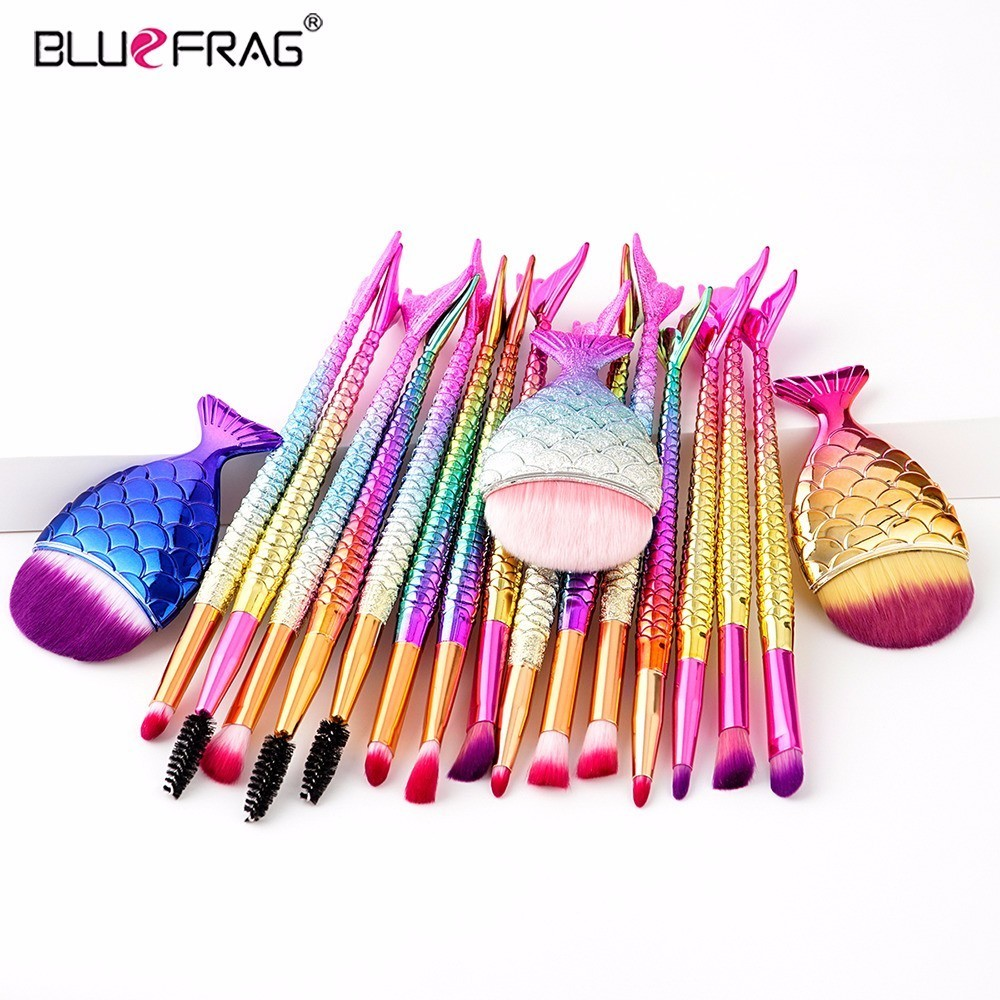 BLUEFRAG Makeup Brushes Sets Sea-maid Style Foundation Concealer Fan Brush Professional Eyeshadow Blending Beauty Cosmetic Tools beauty girl hot professional 8pcs mini cosmetic eyebrow eyeshadow brush makeup brush sets kits tools nov 3
