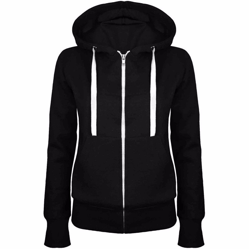TDYUS DesignName Womens Casual Style Black Hoodie With Pocket