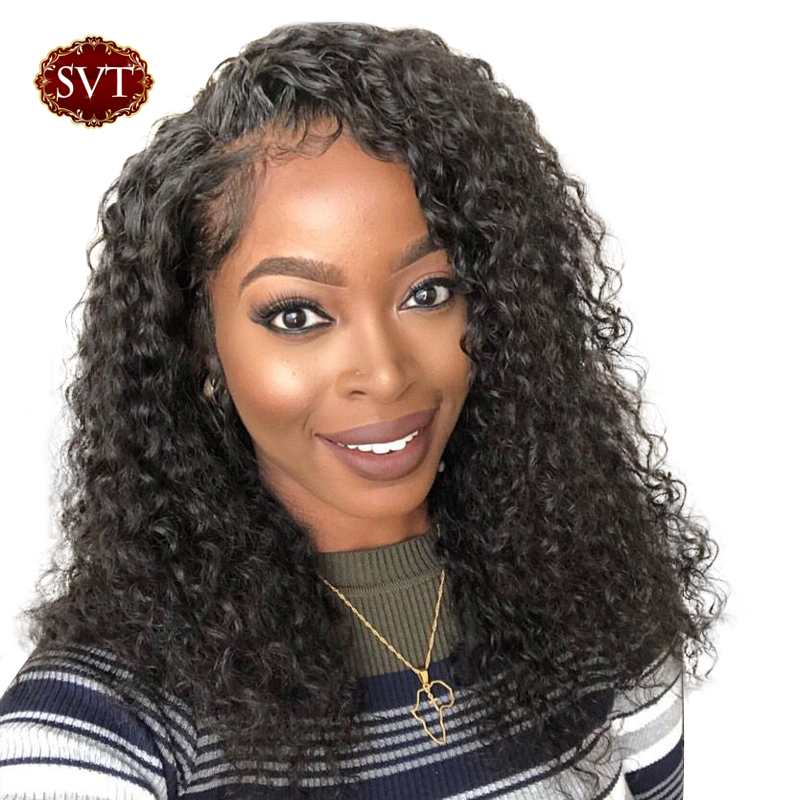SVT Brazilian Curly Short Human Hair Wig For Black Women 13x4 Bob Lace Front Wigs Remy