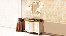ivory and hand paint  golden oak, rainforest brown marble cabinet and mirror, Bathroom Vanities