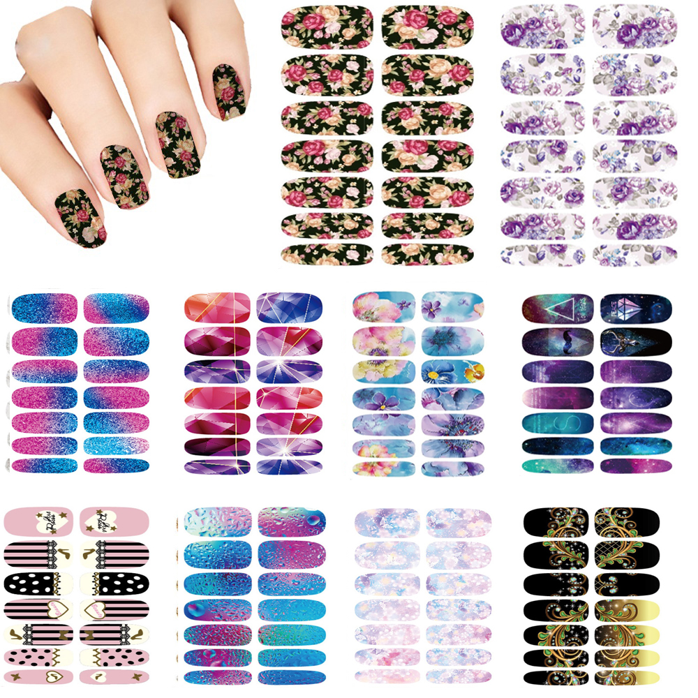 10PCS Nails Art Lot flower Mystery Galaxies Design stickers for nails Manicure Decor Nail Stickers Wraps Water Sticker Decals