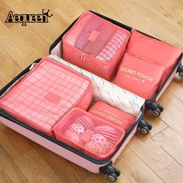 b6ef1bc37063 AEQUEEN Travel Package Storage Organizers 6PCS Set Large Packing Cubes  Waterproof Luggage Clothes Mesh Bag Polyester Pouch-in Travel Accessories  from ...