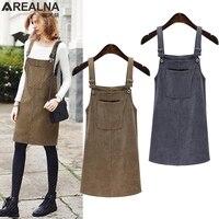 AREALNA 2018 Spring Autumn Women Casual Vest Party Dress Sleeveless Corduroy Vintage Loose Vestidos Plus Size
