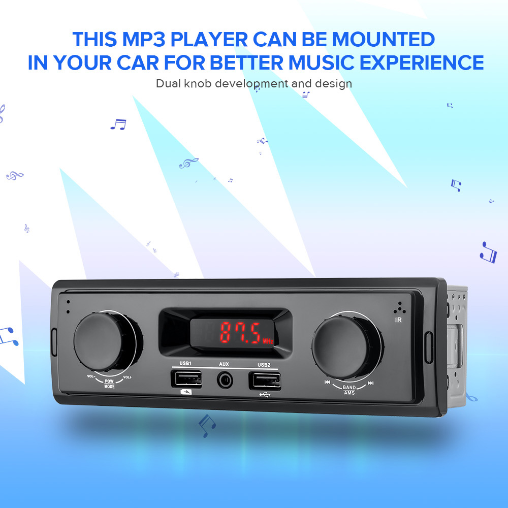 1 Din Car Radio 12V Support FM Aux In Receiver USB MP3 Radio Player Auto Audio Stereo No Bluetooth No Remote Control image