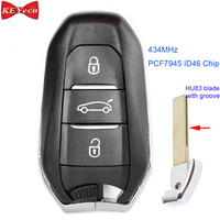 KEYECU for Peugeot 308 508 for Citroen DS5 C4 Grand Picasso Replacement Remote Control Car Key Fob 434MHz ID46