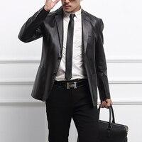 Autumn Loaded Sheep Leather Jacket Brand Fashion Suit Business Leather Jacket Pure Color Slim Suit Design