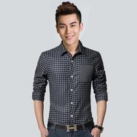 Men Fashion Cardigan Print Plaid Shirts Spring Autumn turn-down Collar Shirt Casual Cotton Long Sleeve Single Breasted Shirt