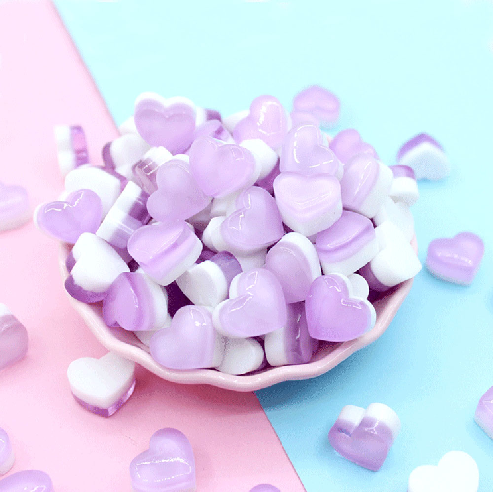 Slime charms 10Pcs Cute Heart Candy Slime Supplies Accessories Phone Case Decoration for Slime Filler Miniature 3