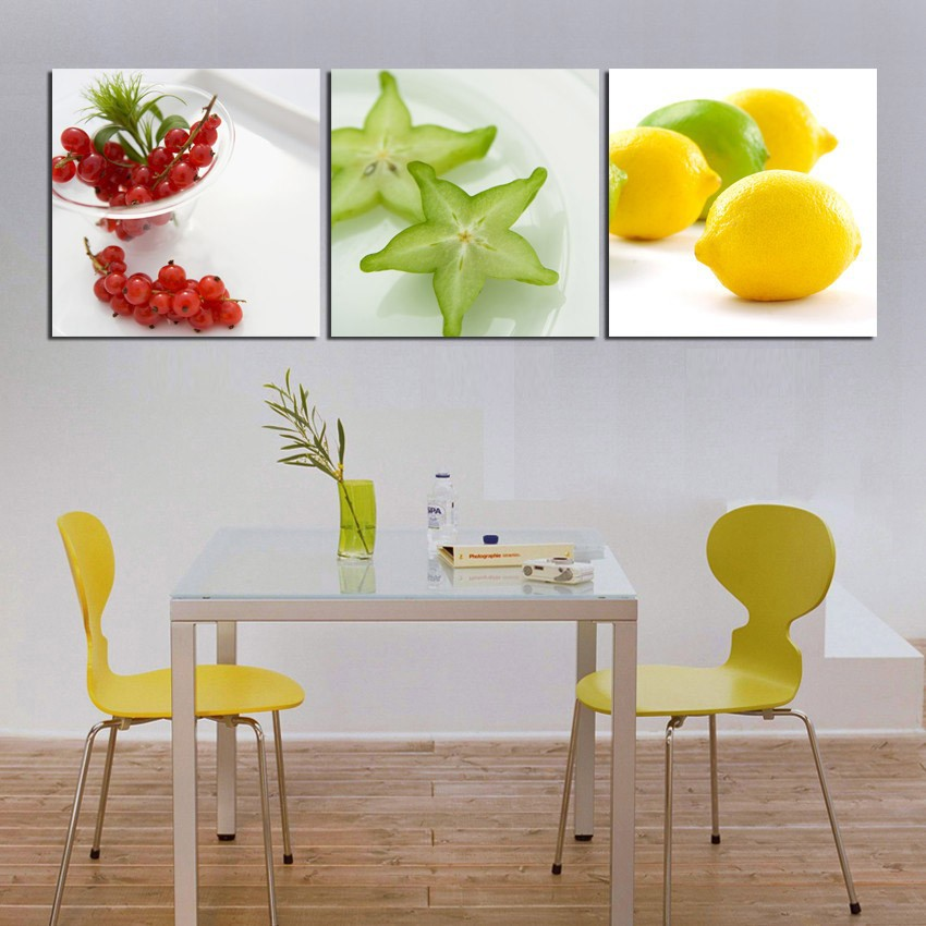 Modern wall art paintings 3 pieces kitchen decor pictures for Peinture orange pour cuisine