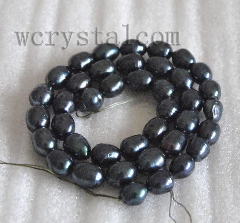 60a6ae3b4655 Negro cultivadas de agua dulce perla 7 x 9 mm 8 x 10 mm Oval de los granos  flojos