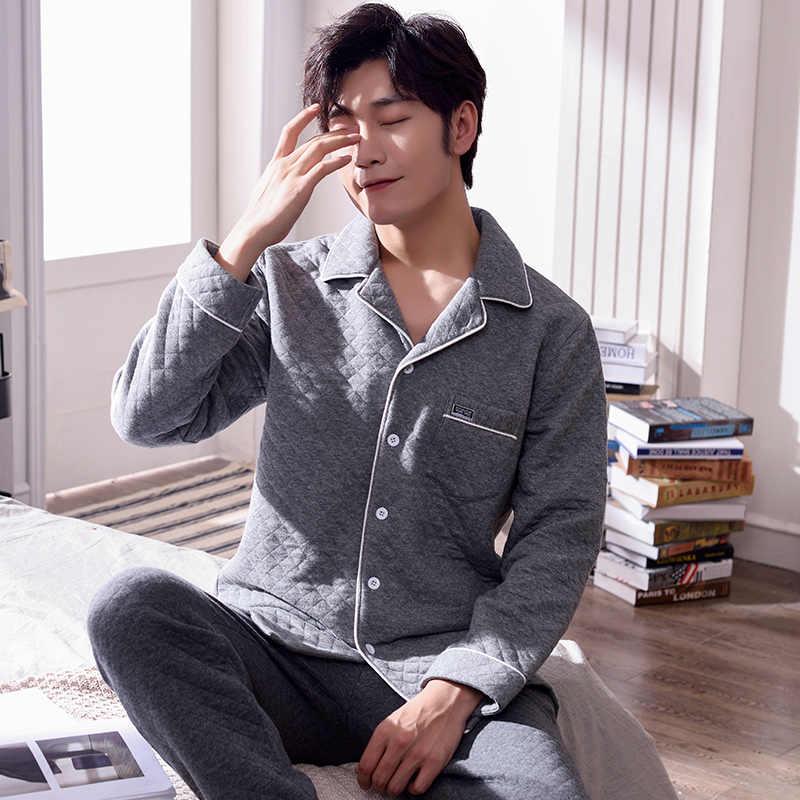J & Q новая Пижама 2019 Мужская Толстая зимняя одежда для сна Кардиган Топ ночные костюмы обычный хлопок серый патч карман хлопчатобумажная одежда для мужчин
