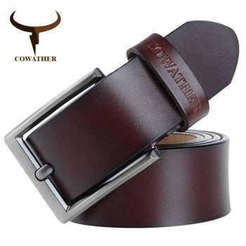 COWATHER 2019 men belt cow genuine leather luxury strap male belts for men new fashion classic vintage pin buckle Free Shipping