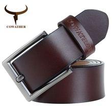 COWATHER 2018 hommes ceinture en cuir de vache véritable bracelet de luxe  mâle ceintures pour hommes nouvelle mode classice broc. 49c9001a591