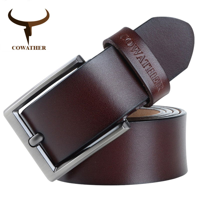 Cowather 2018 الرجال حزام جلد البقر حزام الفاخرة أحزمة الذكور للرجال الموضة الجديدة classice خمر دبوس مشبك دروبشيبينغ