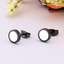 SHUANGR Fashion 1 Pair Round Shape Vintage Stud Earrings for Man Trendy Party Black Earrings Jewelry Men & Women Unisex