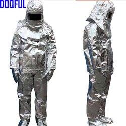 Alta qualidade 500 graus de radiação térmica resistente ao calor aluminizado terno à prova de fogo roupas bombeiro uniforme