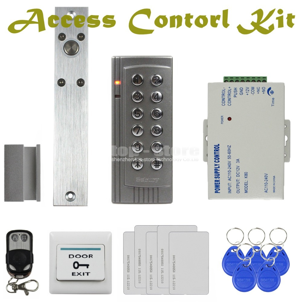 DIYSECUR Electric Bolt Lock 125KHz RFID Reader Password Keypad Access Control System Security Kit + Remote Control K4 diysecur electric bolt lock 125khz rfid password keypad access control system security kit door lock remote control ks158