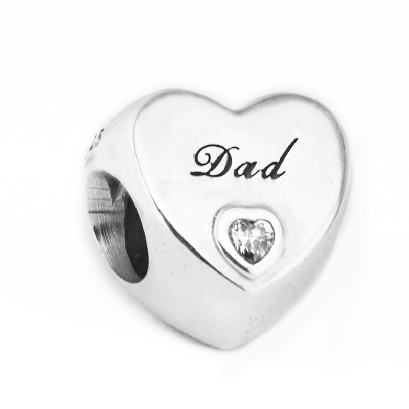 Fits for Pandora Charms Bracelets Silver 925 Original Dads Love Clear CZ Heart Charm Beads for Jewelry Making Berloque