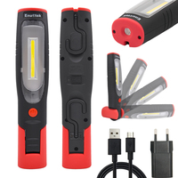 Rechargeable LED Work Light Portable Cordless LED Inspection Lamp Dual Hooks LED Torch Light with EU Plug Foldable Magnetic