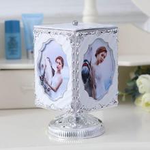 Creative Rotation Frame Music Box Silver Color Photo Versatile Interchangeable Music Box Storage Jewelry Box L30