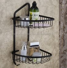 цены на Bathroom Shelves Black Color Brass Material With Robe Hook 2-Tier Bathroom Storage Basket Wall Mounted Bathroom Shelf Kba067