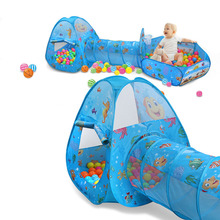 Toys Tent For Kids Tunnel Ball Pool Pits Ocean Series Cartoon Game Portable Foldable Outdoor Sports With Basket Children