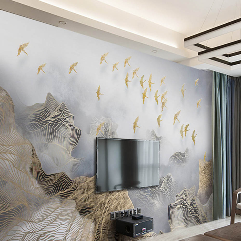3D Abstract Gold Stripe Bird Wallpaper Photo Wall Mural for TV ...
