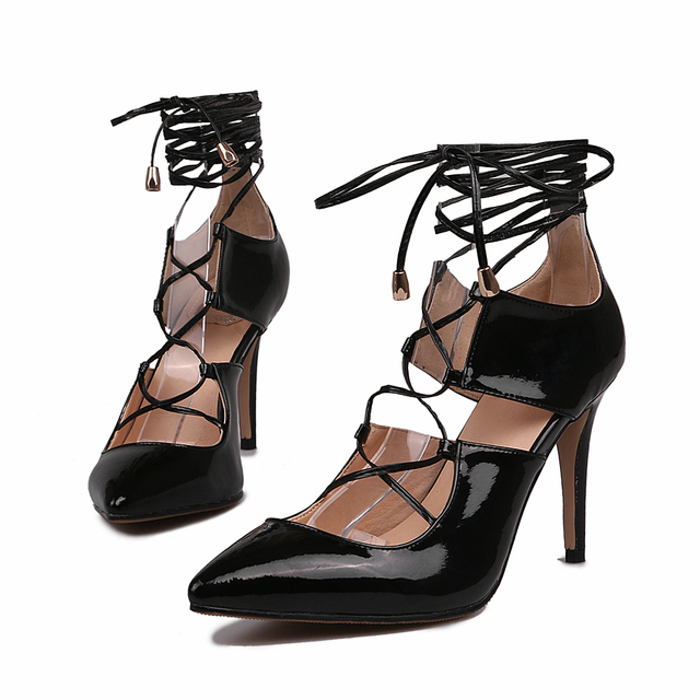 Pointed Toe Patent Leather Women Pumps Summer Cut Out Lace Up Gladiator Shoes Fahion Sexy Casual  Thin High Heels Sandals