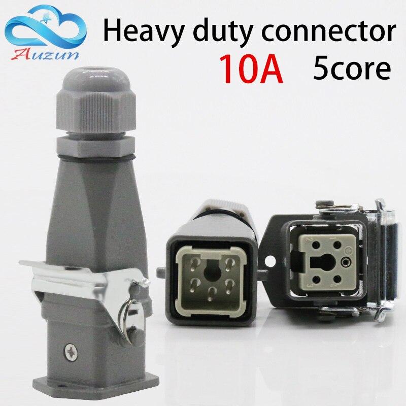 Heavy duty connector 5(4+ 1) 10A 250V HA-005-2 top-line hot channel air plug heavy duty plug connector hdc ha 004 1 f m 4 1pin 5pin 10a power connectors rectangular aviation plug