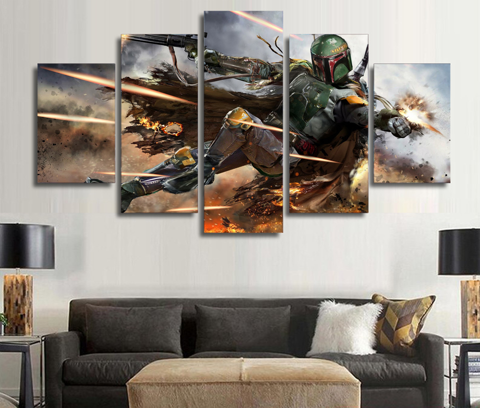5 Pieces Star Wars Warrior Boba Fett Wall Art Picture Home Decoration  Living Room Canvas Print Wall Picture Printing On Canvas In Painting U0026  Calligraphy ...