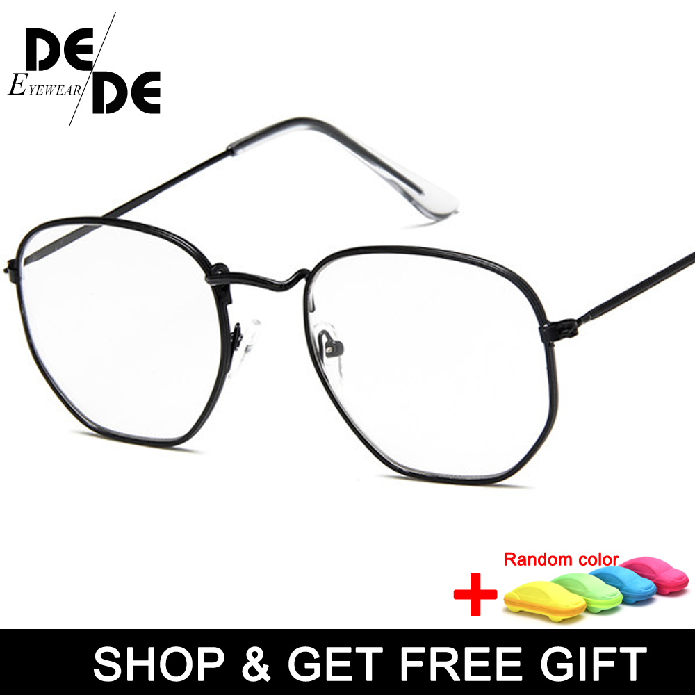 Vintage Clear glasses Frame Women Men 2019 Retro Optical Eye men Hexagon sunglasses