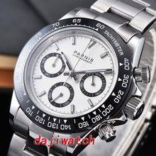 39mm PARNIS cadran blanc saphir cristal solide chronographe quartz montre homme