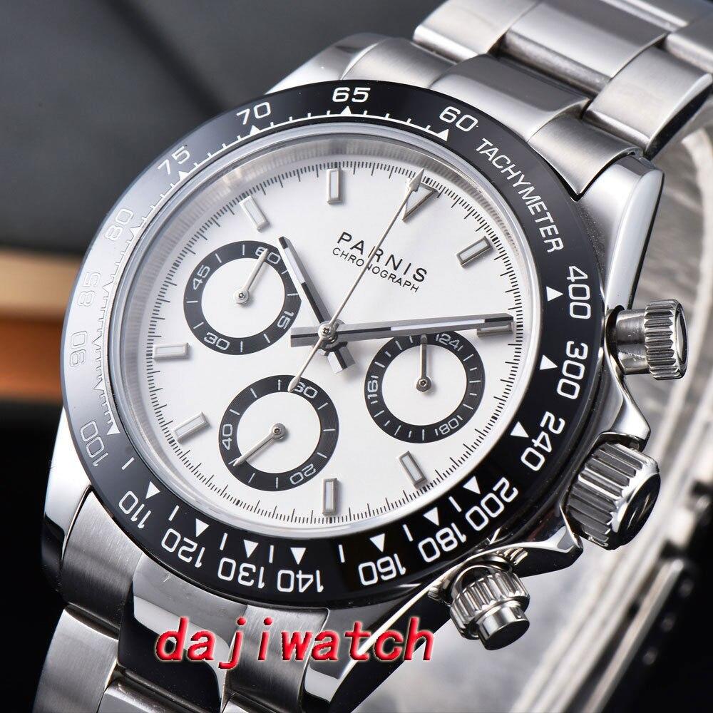 39mm PARNIS cadran blanc saphir cristal solide chronographe quartz montre hommes