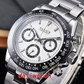 39mm PARNIS weißes zifferblatt sapphire kristall solide voll Chronograph quarz herren uhr