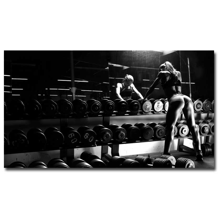 Sexy Bodybuilding Gadis Motivational Penawaran Art Silk Cetak Poster 13x24 24x43 inches Gym Room Decor Kebugaran olahraga Gambar 47
