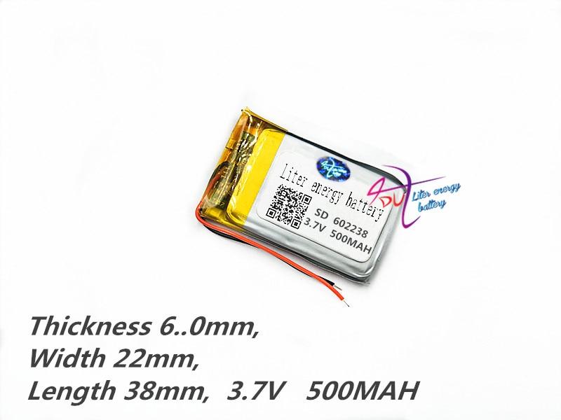liitiumpolümeer aku 602238 062238 3.7V 500MAH MP3 MP4 MP5 GPS DIY - Tahvelarvutite tarvikud - Foto 3